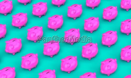 fuchsia sparschwein auf tuerkisem hintergrund