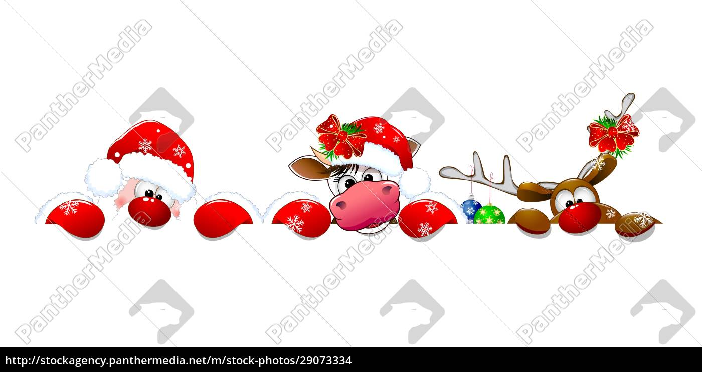 weihnachtsmann, kuh, und, hirsch - 29073334