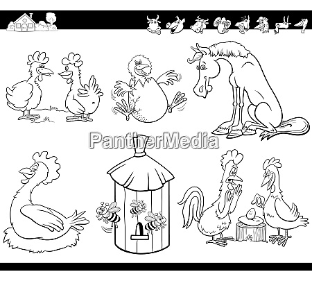 cartoon bauernhof tiere setzen malbuchseite