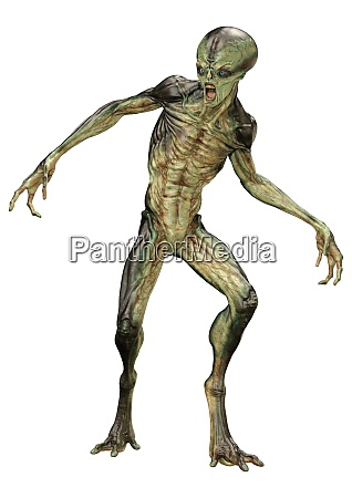 3d rendering green alien auf weiss