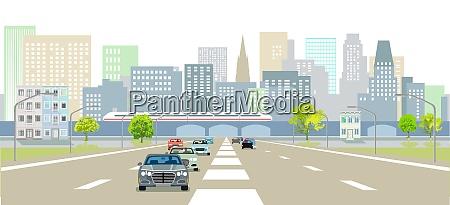 schnellstrassen vor einer city silhouette illustration