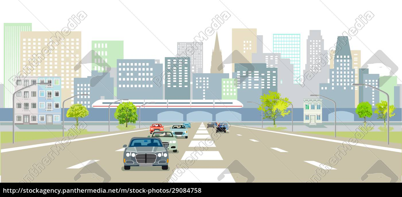 expressways, in, front, of, a, city - 29084758