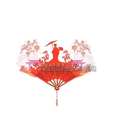 abstrakte dekorative fan mit asiatischen maedchen