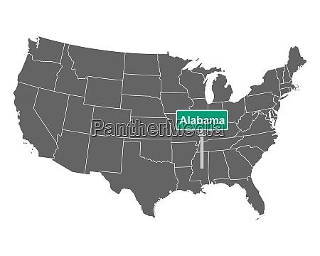 alabama state limit zeichen und karte