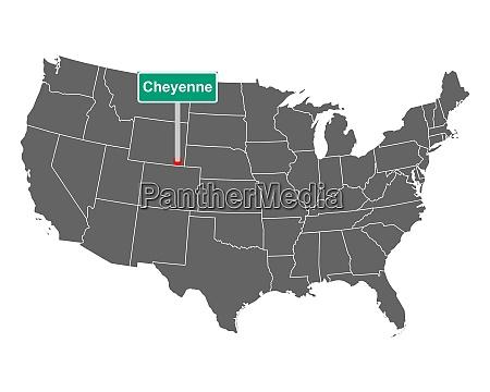 cheyenne stadtgrenze zeichen und karte von