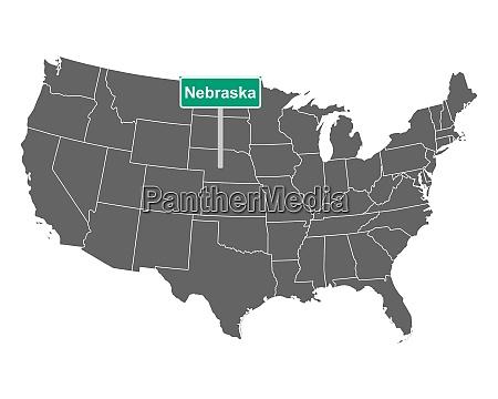 nebraska state limit zeichen und karte