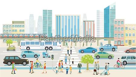 stadt mit strassenverkehr wolkenkratzern mehrfamilienhaeusern und