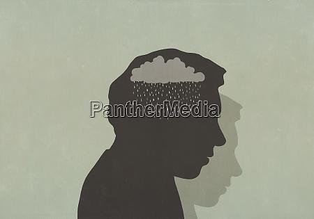 silhouette des traurigen mannes mit regenwolke