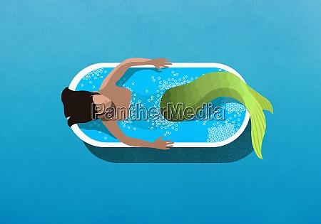meerjungfrau baden in badewanne