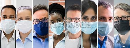 diverse people group tragen gesichtsmaske
