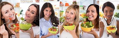 frauen essen gesunde ernaehrung salat
