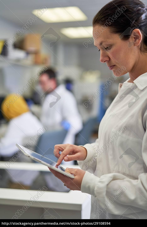 female, scientist, using, digital, tablet, in - 29108594