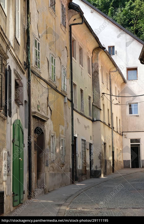 straße, im, alten, stadtzentrum, von, ljubljana, slowenien - 29111195