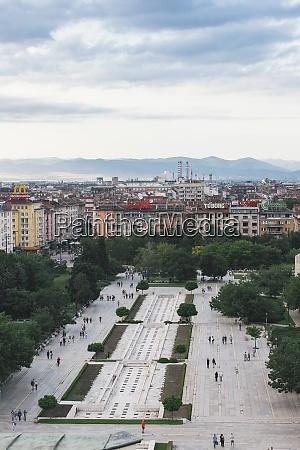bulgarien, sofia, stadtansicht, blick, vom, nationalen, kulturpalast, zum, park - 29112514