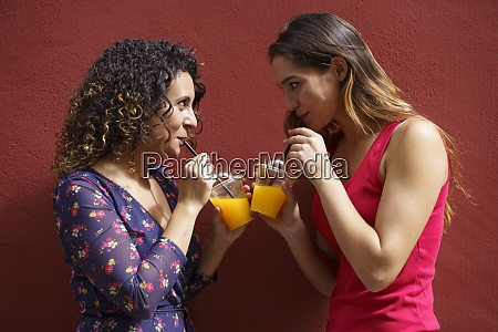 weibliches paar trinkt saft waehrend es