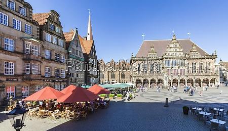 deutschland freie hansestadt bremen marktplatz kaufmannshaeuser