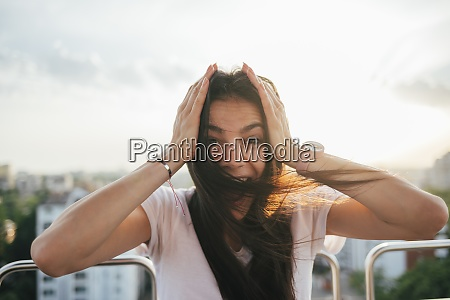 excited, young, woman, with, head, in - 29123899