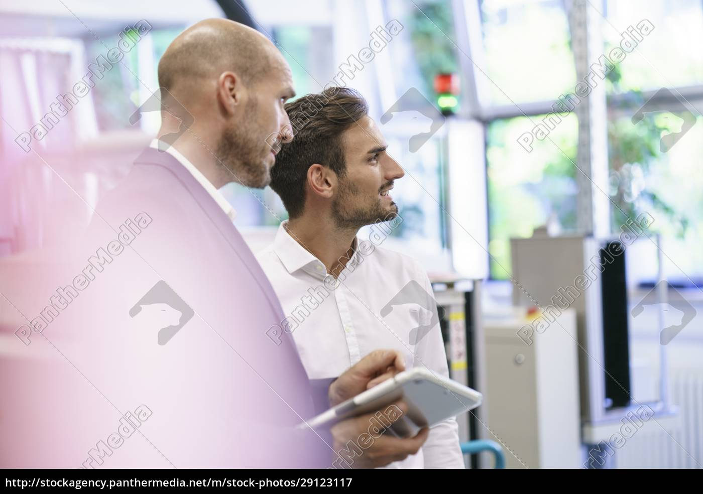 male, professionals, discussing, while, looking, away - 29123117