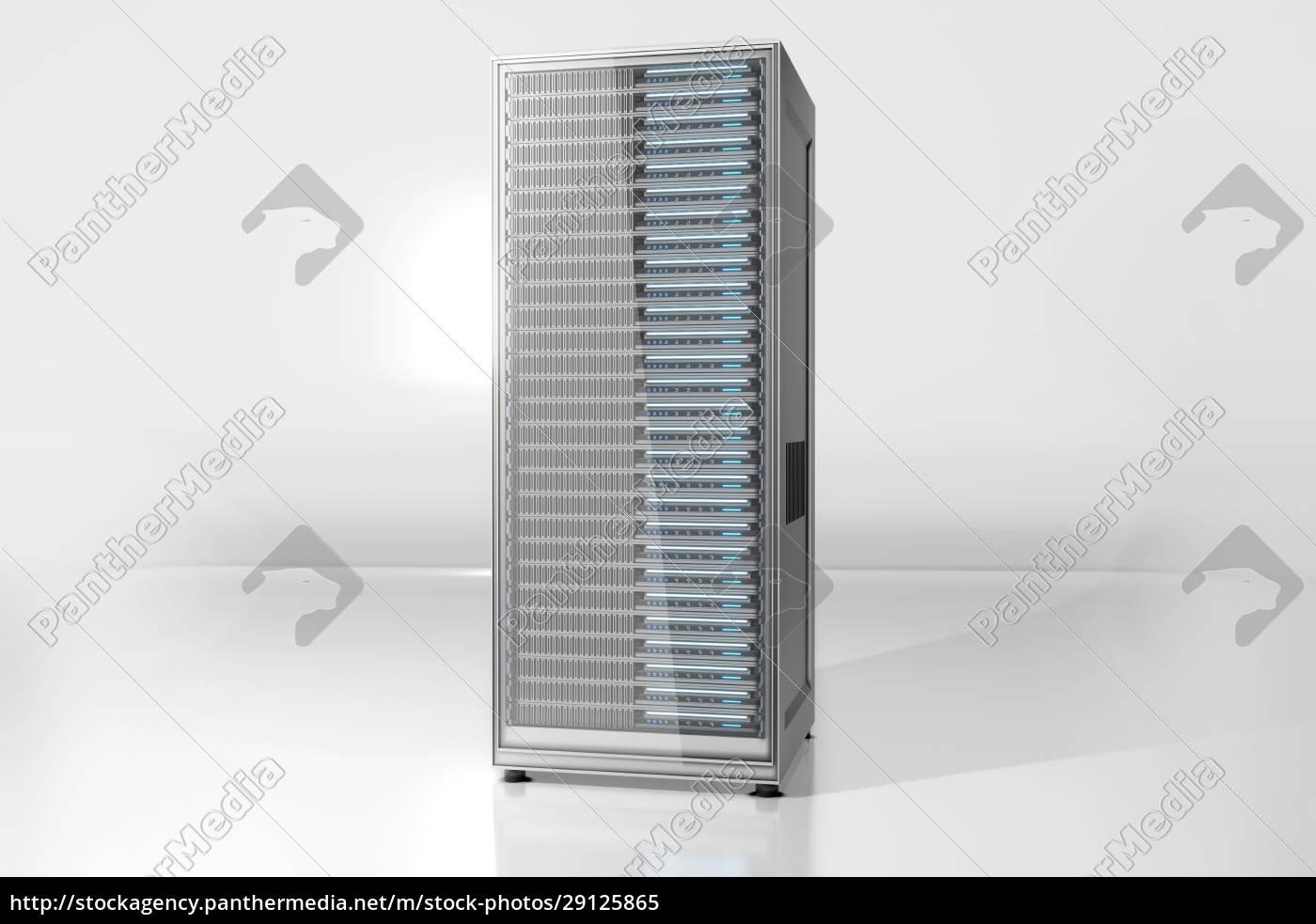 serverturm, vor, weißem, hintergrund - 29125865