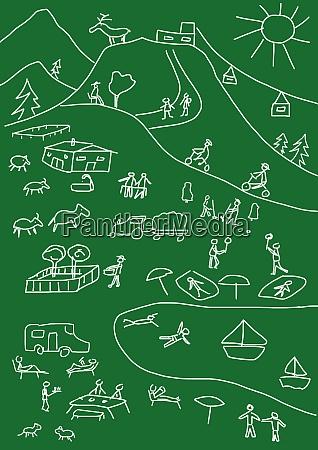 kinderzeichnung von mehreren sommerferienaktivitaeten