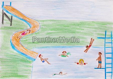kinderzeichnung des aussenpools mit wasserrutsche