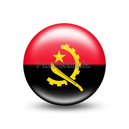 angola landflagge in sphaere mit schatten