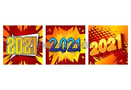 kreative glueckliche neues jahr 2021 design