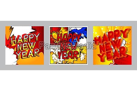 kreative, glückliche, neue, jahr, urlaub, design-karte - 29197459