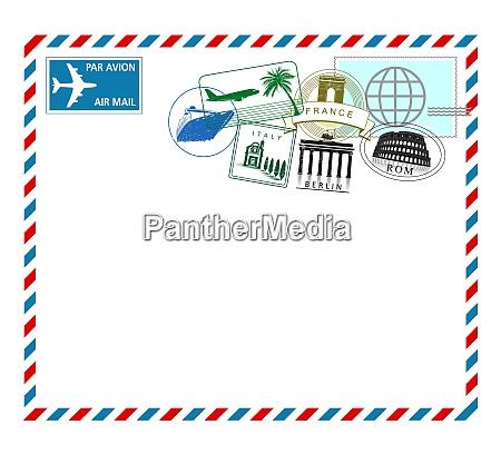luftpost von europa reise