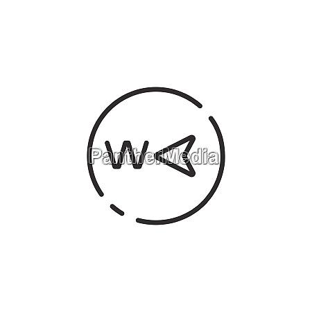 westrichtung duenne linie symbol isolierte wettervektor