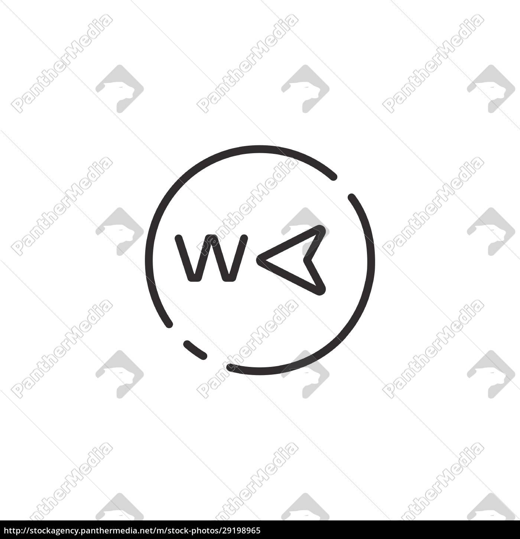 westrichtung, dünne, linie, symbol., isolierte, wettervektor-illustration - 29198965