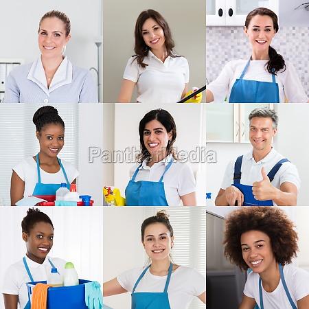 laechelndes janitor reinigungsteam oder gruppe
