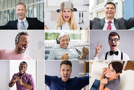 verschiedene verschiedene lustige menschen portrait collage