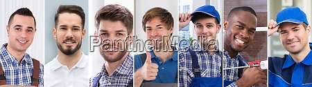 diverse workman engineer worker collage portrait