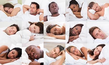 diverse menschen schlafen