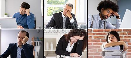 faule gelangweilte menschen bei der arbeit