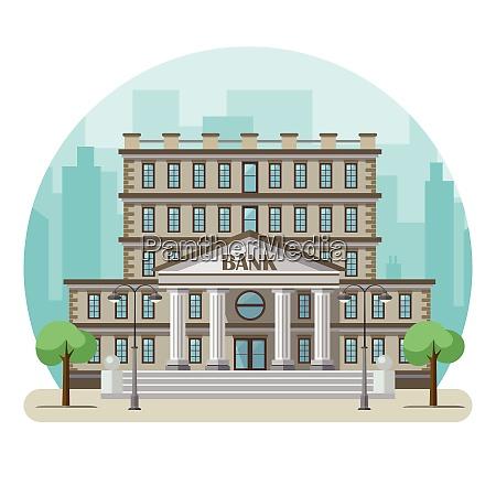 bankgebaeude in einer grossstadt vektor illustration