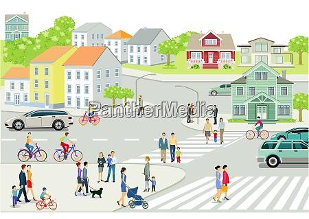 stadtbild mit menschen und strassenverkehr illustration