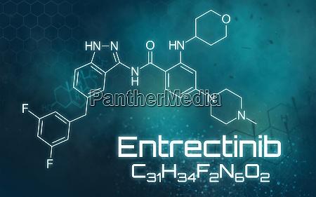 chemische formel von entrectinib auf futuristischem