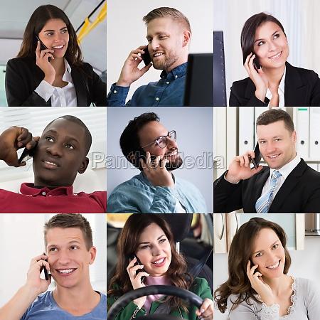 vielfaeltige geschaeftsleute die auf smart phone