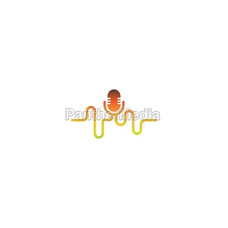 mikrofon, podcast, kombiniert, mit, sound, wave, design - 29256174