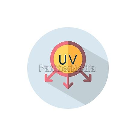 ultraviolette strahlen sonne flache farbe auf