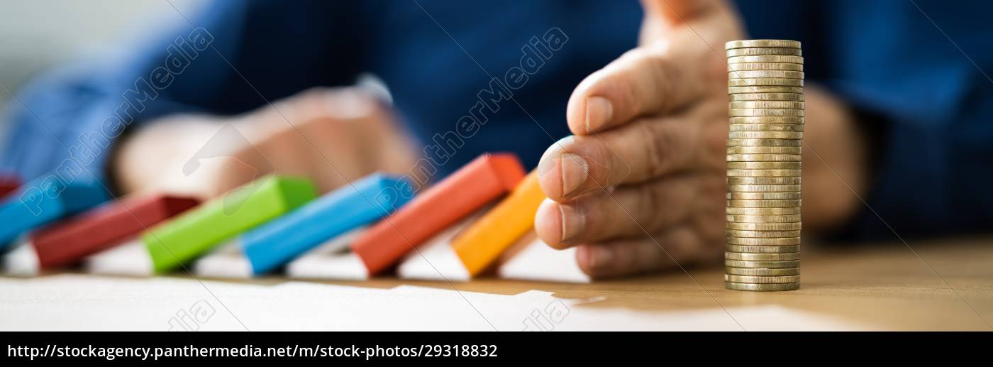 hand, stopping, falling, wooden, domino - 29318832