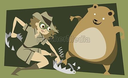 maedchen mit einem gefangenen tier