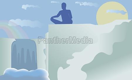 silhouette eines mannes der yoga durchfuehrt