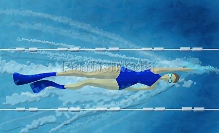 frau schwimmt im schwimmbad