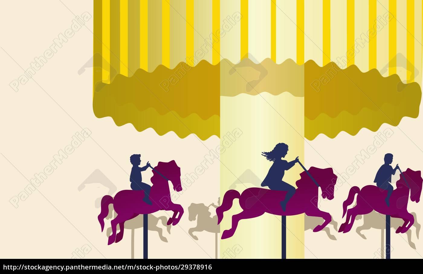 drei, personen, reiten, auf, karussellpferden - 29378916