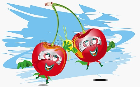 two, cherries, representing, humans - 29382268