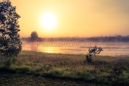 sonnenaufgang am afrikanischen savannensee waehrend camping