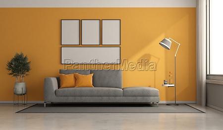 graues und orangefarbenes modernes wohnzimmer